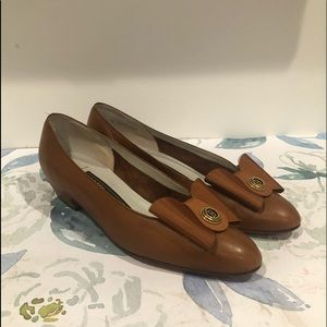 Bally Vintage Cognac Leather Emily Bow Flats -6